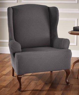 Gray Optics Wing Chair Slipcover