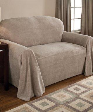 Natural Coral Fleece Furniture Throw