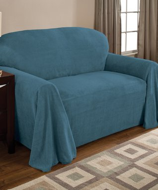 Teal Coral Fleece Furniture Throw
