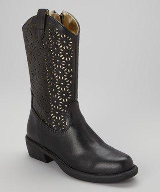 ENZO Black Sally Cutout Cowboy Boot