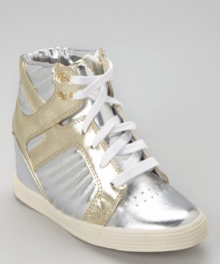 ENZO Light Gray Valentina Sporty Hi-Top Wedge Sneaker
