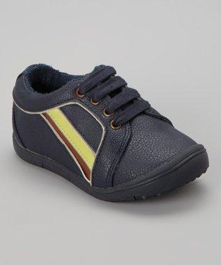 ENZO Navy Blue Stripe Lace-Up Sneaker