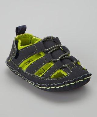 ENZO Navy Blue & Green Stitch Sandal