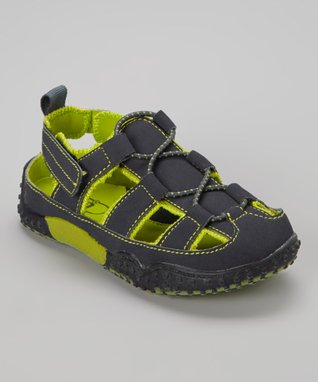 ENZO Navy Blue & Green Closed-Toe Sandal
