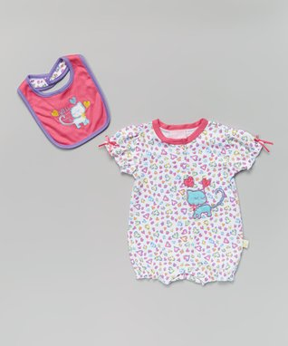 Littoe Potatoes Purple Floral Rosette Cap-Sleeve Dress & Diaper Cover - Infant
