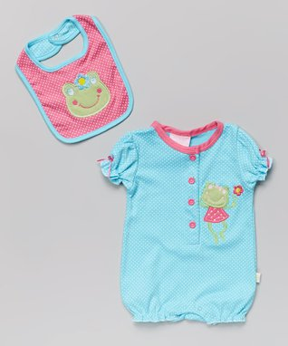 Duck Duck Goose Pink Wild Kitty Romper & Bib - Infant