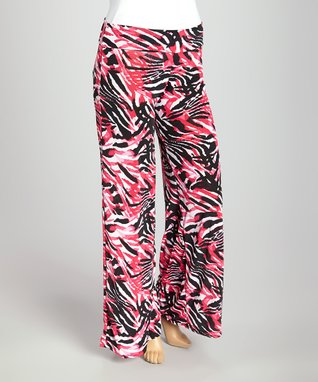 Pink & Black Palazzo Pants - Plus