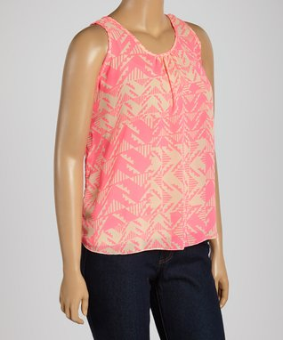 Pink & Yellow Floral Sleeveless Top - Plus