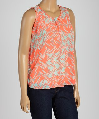 Tan & Coral Floral Sleeveless Top - Plus