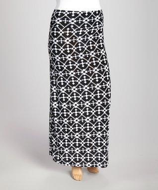 Black & White Geometric Maxi Skirt - Plus