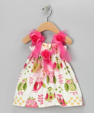 Caught Ya Lookin' Hot Pink & Green Owl Flower Dress - Infant & Toddler