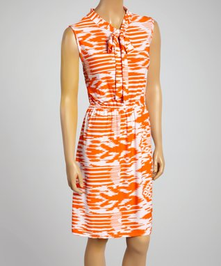 Sasha Apparel Orange & White Abstract Sleeveless Dress