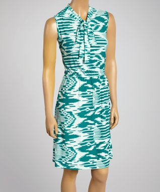 Sasha Apparel Green & White Abstract Sleeveless Dress