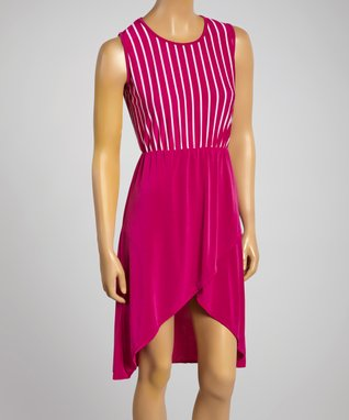 Sasha Apparel Purple & White Stripe Sleeveless Asymmetrical Dress
