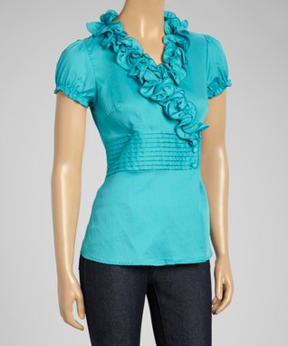 Fashion Ai Blue Ruffle Top