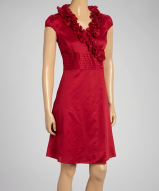 Fashion Ai Red Ruffle Sleeveless Dress