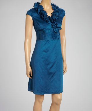 Fashion Ai Dark Blue Ruffle Sleeveless Dress