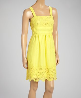 Fashion Ai Yellow Embroidered Shirred Dress