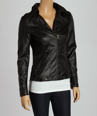 Luii Black Faux Leather Jacket