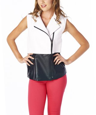 Luii Black & White Zipper Vest