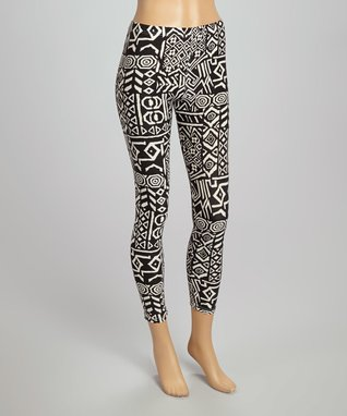 Fashion Ai Black & White Tribal Leggings