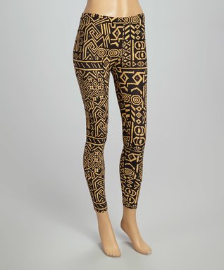 Fashion Ai Black & Tan Tribal Leggings