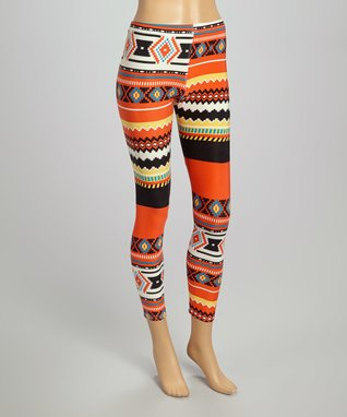 Fashion Ai Coral & Black Diamond Checkerboard Leggings