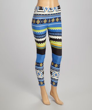 Fashion Ai Blue Southwestern Leggings