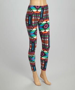 Fashion Ai Purple & Coral & Green Southwestern Leggings