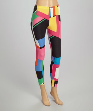 Fashion Ai Neon Pink & Green Abstract Leggings