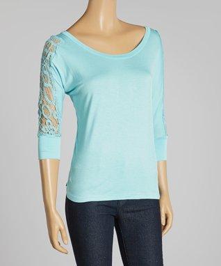 Light Blue Sheer Crochet Scoop Neck Top