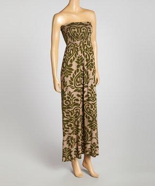Olive Smocked Strapless Maxi Dress