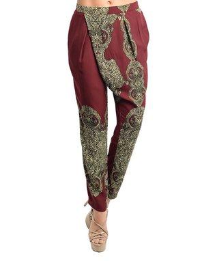 Burgundy & Tan Arabesque Harem Pants