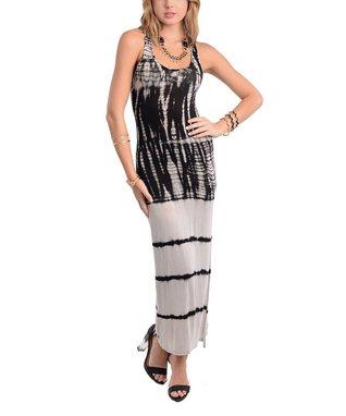 Black & Gray Tie-Dye Maxi Dress