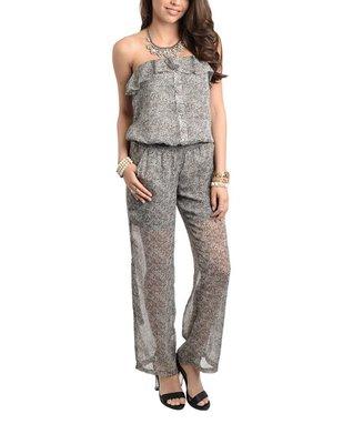 Gray & Black Sheer Ruffle Strapless Jumpsuit