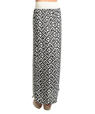 Black & Ivory Tribal Maxi Skirt