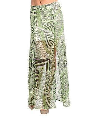Green & Black Geo Sheer Maxi Skirt