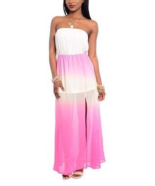 Ivory & Pink Ombre Strapless Maxi Dress