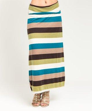 Turquoise & Cream Stripe Maxi Skirt