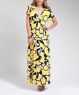 Yellow & Black Abstract V-Neck Maxi Dress