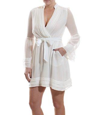 White Sheer Wrap Dress