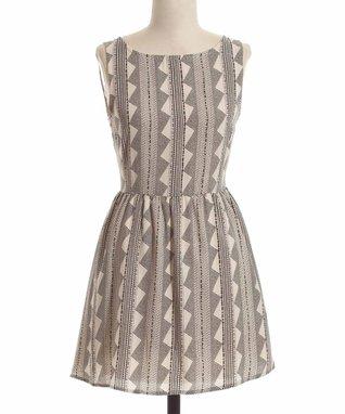Black & White Geo Stripe Sleeveless Dress