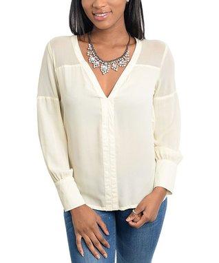 Ivory Long-Sleeve Silk-Blend V-Neck Top