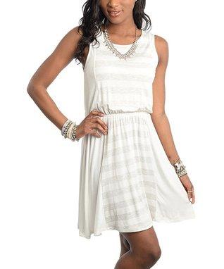 Light Gray & Ivory Striped Dress