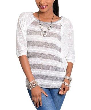 White & Gray Stripe Sweater