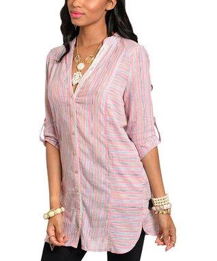 Pink Stripe V-Neck Button-Up Top