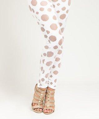 White Sheer Spots Leggings