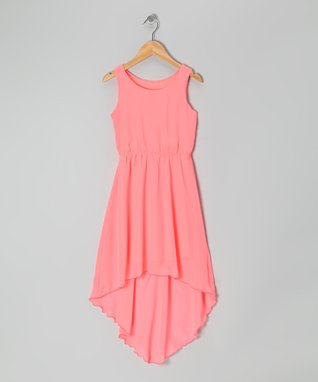 Coral Chiffon Hi-Low Dress