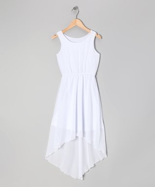 White Chiffon Hi-Low Dress