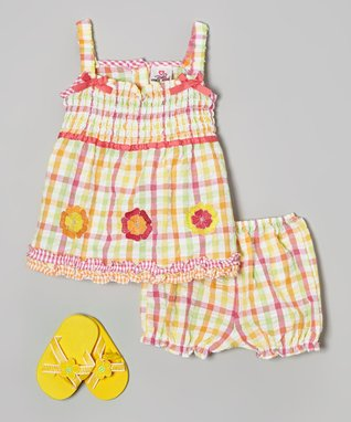 Real Love Pink & Orange Plaid Flower Seersucker Dress Set - Infant